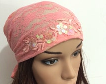 Pink Lace Tichel With Leaves , Head Scarf , Hair Snood , Hair Covering , Head Covering , Pre Tied Headwear , Head Scarfs