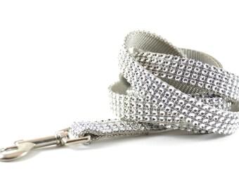 Silver Rhinestone Dog Leash - Bling Diamond Swarovski-Like Dog Lead