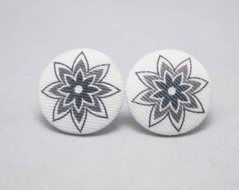 Black, Grey And White Flower Fabric Covered Button Earrings - Retro - Pin Up