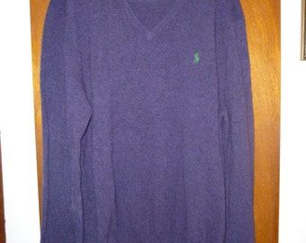 Mens Polo Ralph Lauren Dark Purple Lightweight Lambswool V Neck Sweater XL