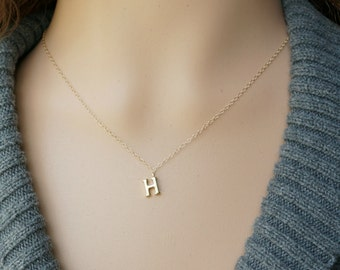 Gold Initial Necklace / Tiny Letter Pendant  on a 14k Gold filled Chain ... choose your Capital Letter
