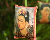 EASTER SALE Flowers Frida Kahlo Rose & Lavender Sachet / Christmas Ornament - Mexican Decor, Christmas Decorations, Mexican Christmas Party