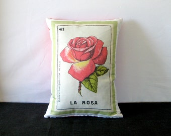 ON SALE: La Rosa Vintage Mexican Loteria Pillow Cover circa 1920 - Mexican Traditional Art, Day of the Dead, Dia de los Muertos, Mexican Sty