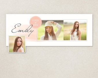 Facebook timeline cover template photo collage - Senior Watercolor Scipt FC051
