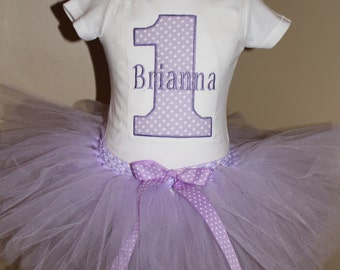 GIRL Personalized number 1 First 1st birthday tutu OUTFIT/ shirt customize birthday outfit/ personalized embroidered / monogram pink chevron