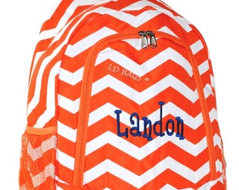 Personalized  Backpack,Backpack,School Backpack,Large Backpack,Monogram Backpack,Canvas Backpack,Girls Backpack,Chevron Orange