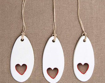 LOVE heart clay gift tag