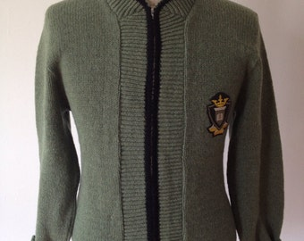 Vintage 50s/60s Zip Sweater with Crest Patch and Conmatic Zipper Size Small Medium