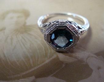 Sweet Sterling London Blue Topaz Ring Size 7.5