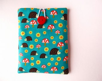 iPad Case, iPad Air Cover, Cute iPad Cover - Red and Green Hedgehogs Padded iPad Sleeve
