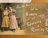 Antique Postcard - Young Edwardian Women on Telephone - Early 1900s Paper Ephemera