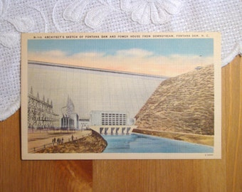 Vintage Postcard, Fontana Dam, North Carolina - 1940s Paper Ephemera