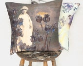The May Queen - Silk and Velvet Vintage Grey Pillow