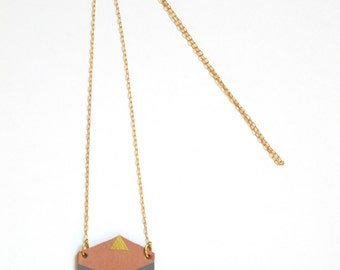 leather necklace in lightcoral, grey, gold, sand