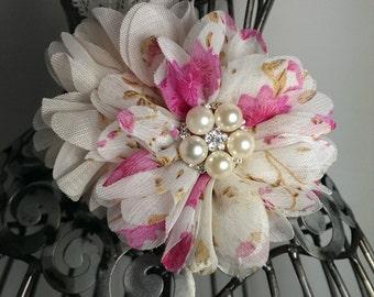 Cream and pink headband, cream lace headband, pearl flower headband, cream hair accessory, soft headband, girls headband