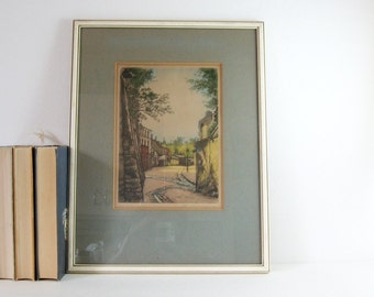 French City Street Scene - Vintage Framed Art - H Tourneur Signed Print - Hand Colored Etching Print - Spring Landscape - Pastel Wall Decor