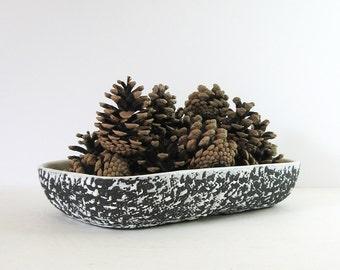 Vintage Black and White Ceramic Planter - Kenwood Pottery Confetti Glaze - Ceramic Console Bowl - MCM Modern Home Decor - Ceramic Fruit Bowl