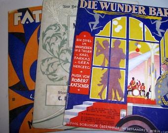 Vintage Piano Sheet Music Set of Three