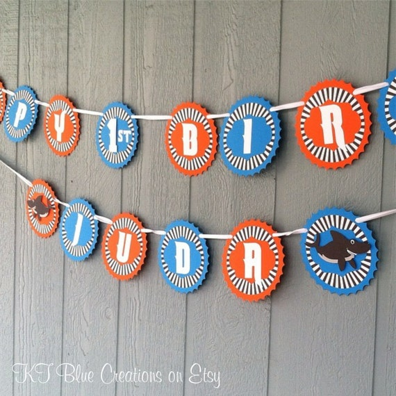 SHARK Birthday Banner Personalized W/ Age & Name