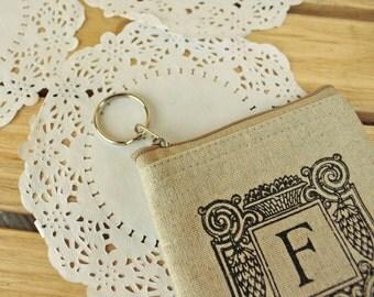 Cotton wallet coin pouch Change Key wallet purse simple cute - Letter F flower pattern