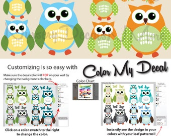 12 Owl Decals for Boys Room, Owl Stickers, Owl Wall Decals, Nursery (12 Blue Orange) 12ROO