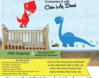 T-Rex Stickers, Kids Dinosaur Decor, Dino Decals, FULL Trex Colorful (FULL_Trex_49_Bronto_28_Pter_22) DINO TRL