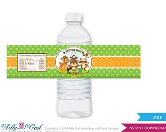 Forest Animals Baby Shower Water Bottle Wrappers, Labels, - it's a Forest Woodland, Neutral - ao23bs5