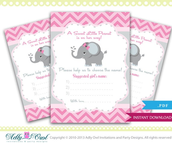 pink elephant suggest name, choose name card for baby shower, Baby shower invitations