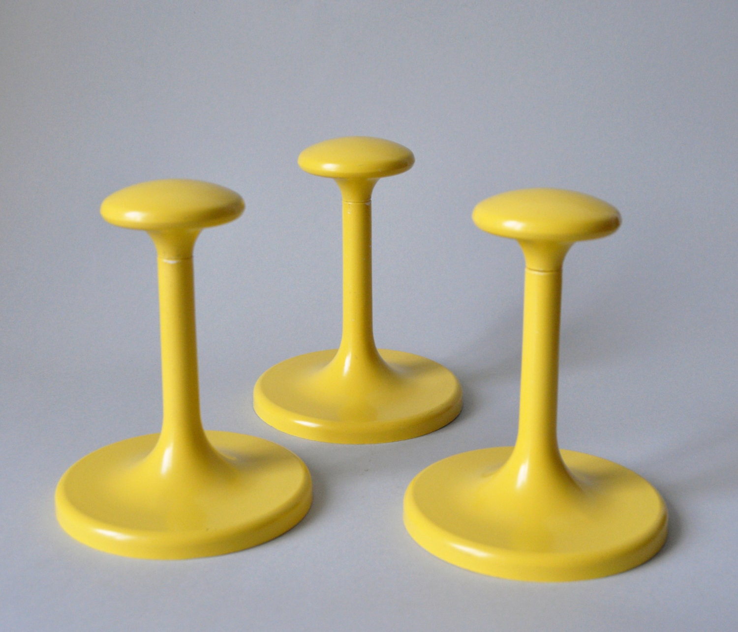 Vintage mid century modern set of 3 coat hooks painted bright for Contemporary coat hooks