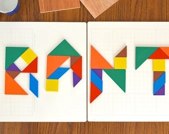 Customizable Personalized Name or Word Wall Signage Wood Tangrams on Dry Erase Board Colorful and Unique