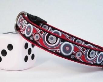"Red & Black Swirl Summer Spring Dog Collar, 1"" Wide"