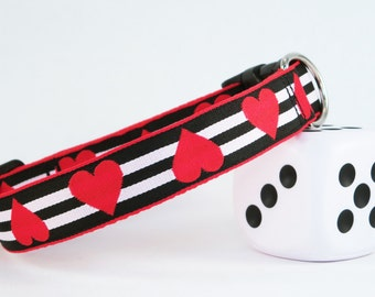 "Red Hearts On Black & White Stripes Valentine Collar, 1"" Wide"