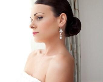 Vintage style pearl drop Bridal earrings