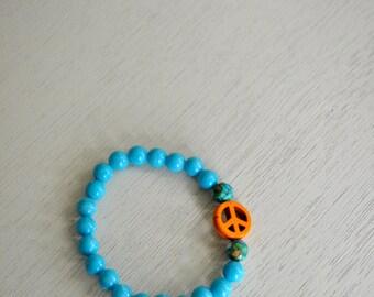 Turquoise Beaded Bracelet- Peace Sign Bracelet- Blue Bracelet- Orange- Boho Jewelry-Boho Bracelet- Hippie Bracelet- Hippie Jewelry