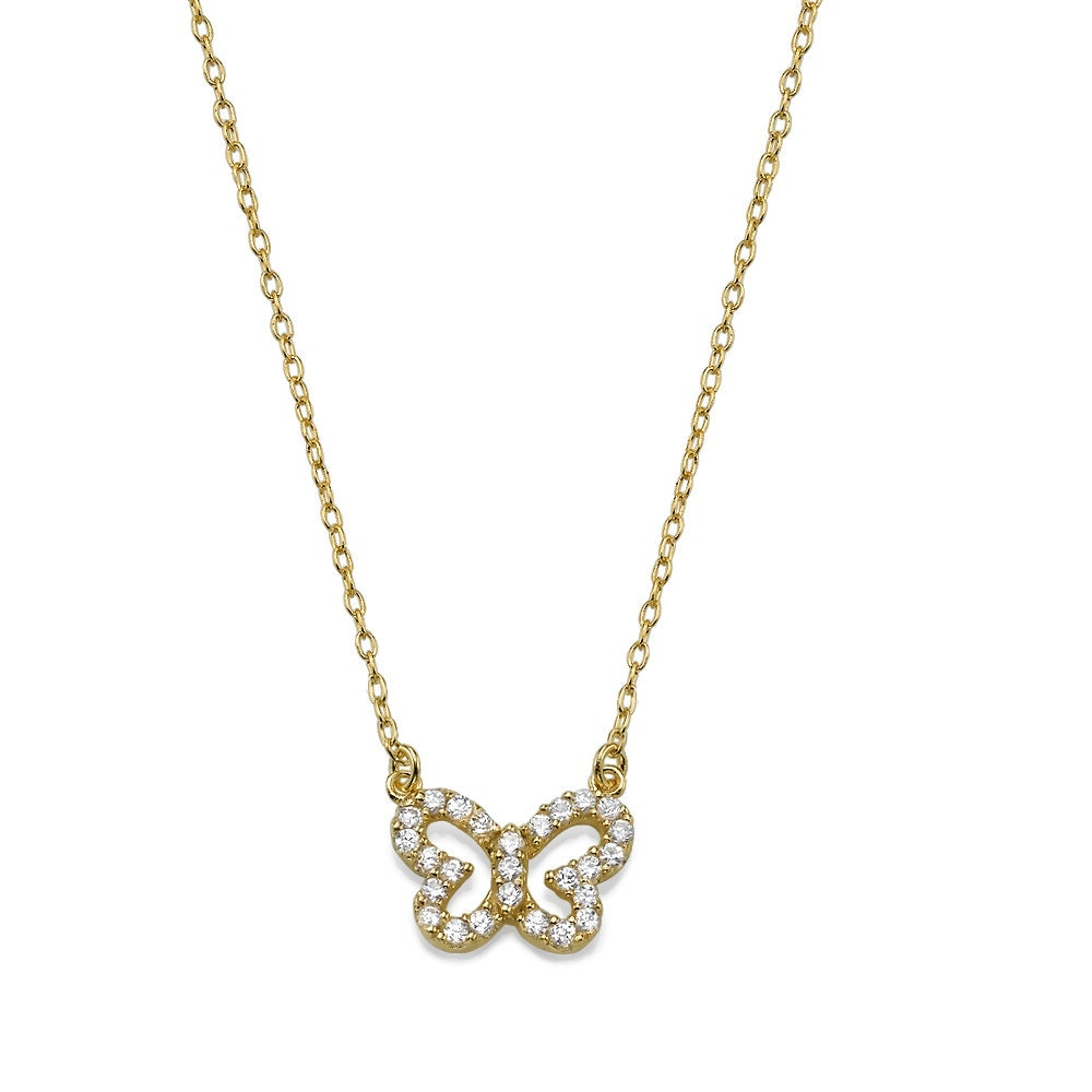 Hello, Butterfly Necklace in Gold Plating, Hand Made Jewelry