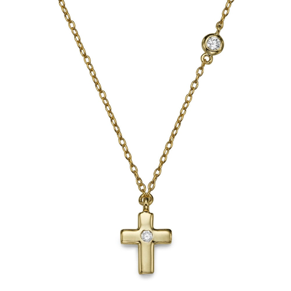 Gold-Plated Dazzling Cross Necklace, Hand Made Jewelry