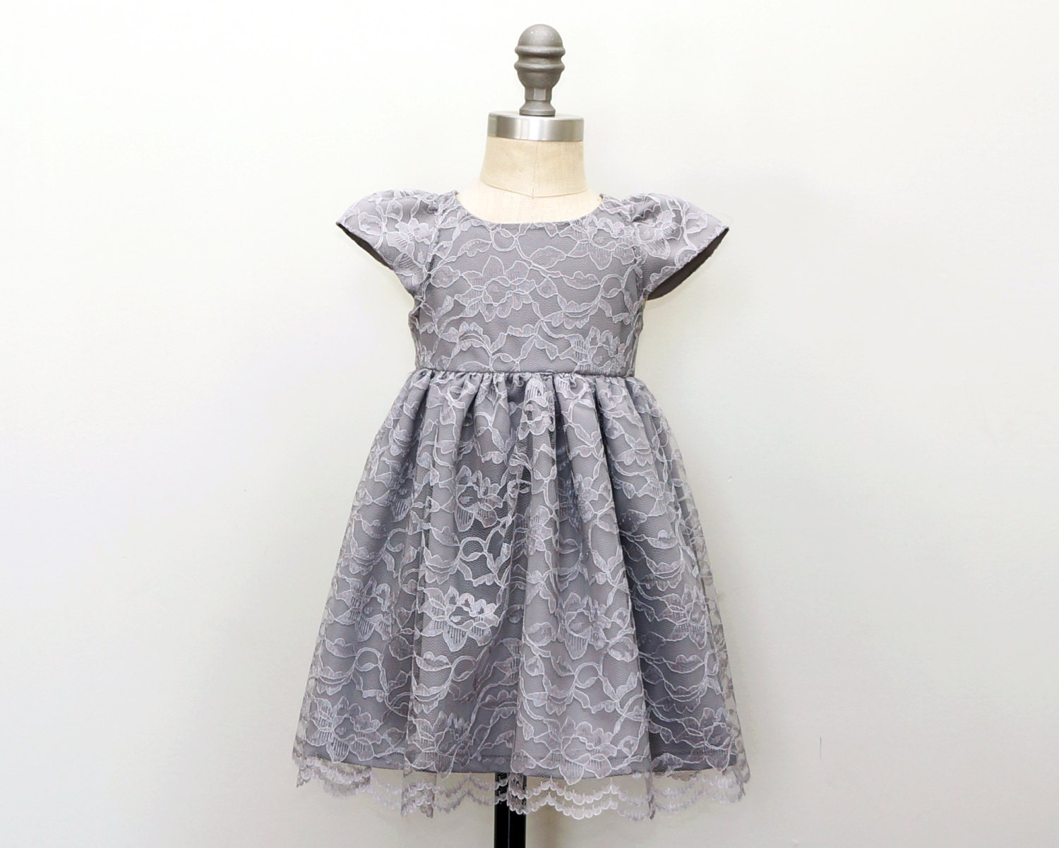 Couture Girls Special Occasion Gray Lace Dress Silver
