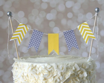 Yellow & Grey Cake Bunting Pennant Flag Cake Topper-MANY Colors to Choose From!  Birthday, Wedding, Shower Cake Topper