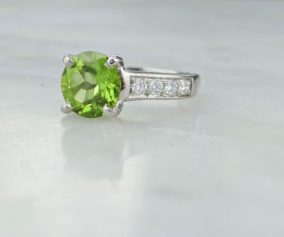 platinum bright lime green peridot ladies cocktail by