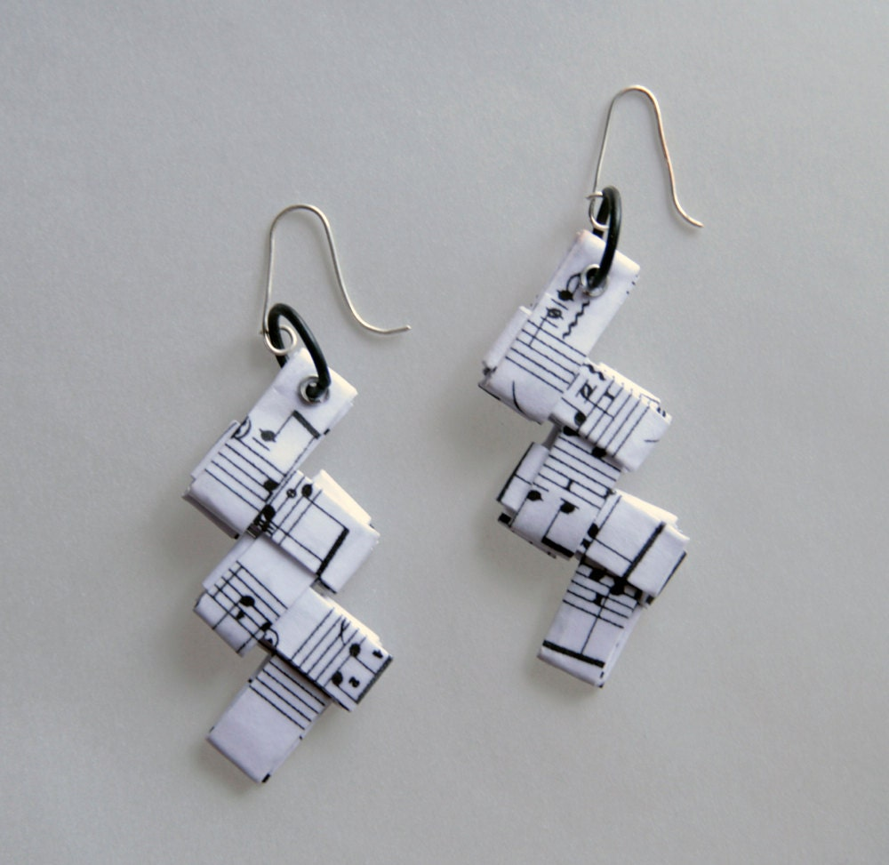 origami music paper earrings with notes from chopins by egeo