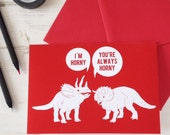 Funny Valentine's Card, Horny Dinosaurs, Naughty Valentines Day Card Jurassic Park Palaeontology Rude Science Geek Ruby Anniversary Buzzfeed