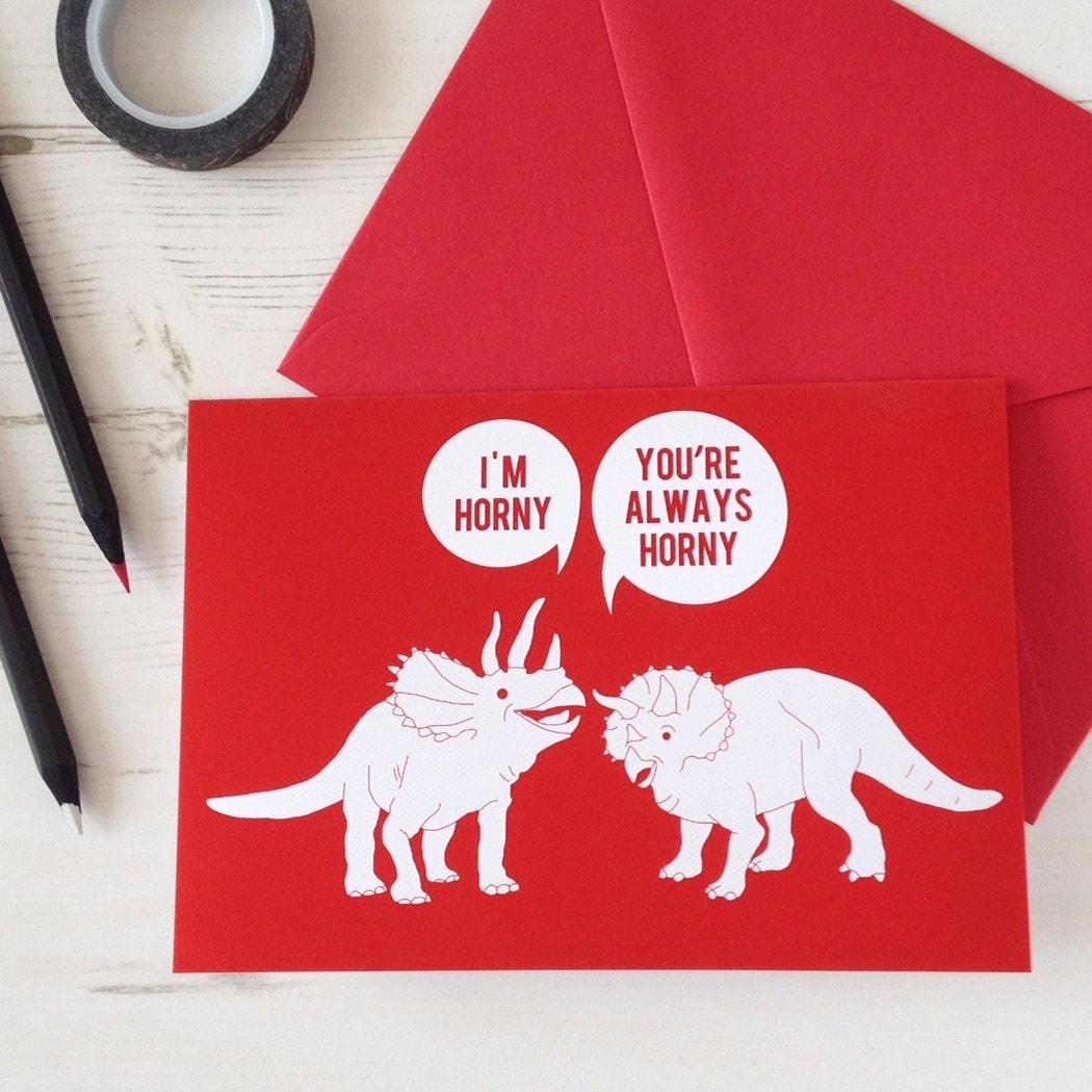 Funny Valentines Card Horny Dinosaurs Naughty – Valentine Anniversary Cards