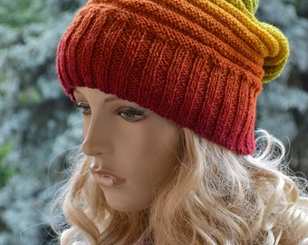 Knitted multicolor kauni wool beanie cap/hat