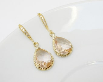 blush pink earrings , gold blush earrings , golden peach earrings , zirconia blush earrings , blush wedding jewelry , champagne earrings