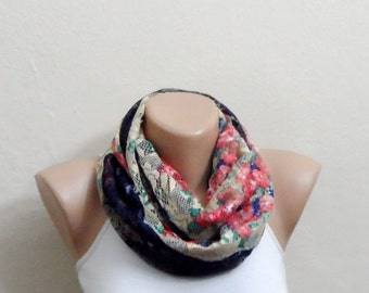 blue yellow red infinity scarf multicolor tulle fabric women scarves loop scarf trendy scarf fashion accessories gift for her