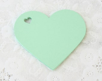 Mint Green Tags, Heart Tags, Mint Tags, Wedding Favor Tag, Label, Die Cuts, Mint Wedding Decor, Gift Wrap, Wish Tree Tags, Large Paper Tags