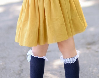 Children Socks Girls Knee High Socks trim  with lace and button Pick up color