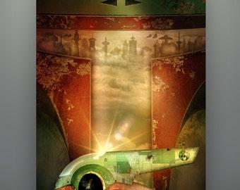 """Star Wars Inspired Boba Fett Slave 1 """"East Platform"""" 11X14 Signed Art Print Poster Empire Strikes Back"""