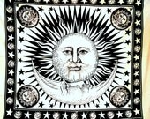 Queen Hippie Celestial Sun Tapestry ,Sun Moon Stars Tapestry Wall Hanging ,Cotton Day Light Sun Print Indian Tapestry