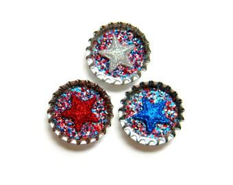 Bottle Cap Magnets - Patriotic Stars - Set of 3